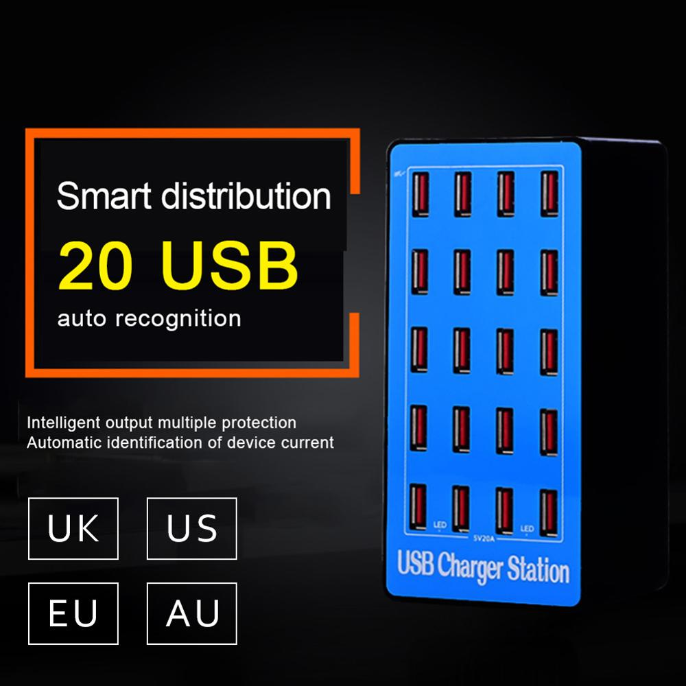 20 Ports USB Hub Fast Charging Station Power Adapter For IPhone X IPad Huawei Tablets Desktop Charger USB Charging Station Dock