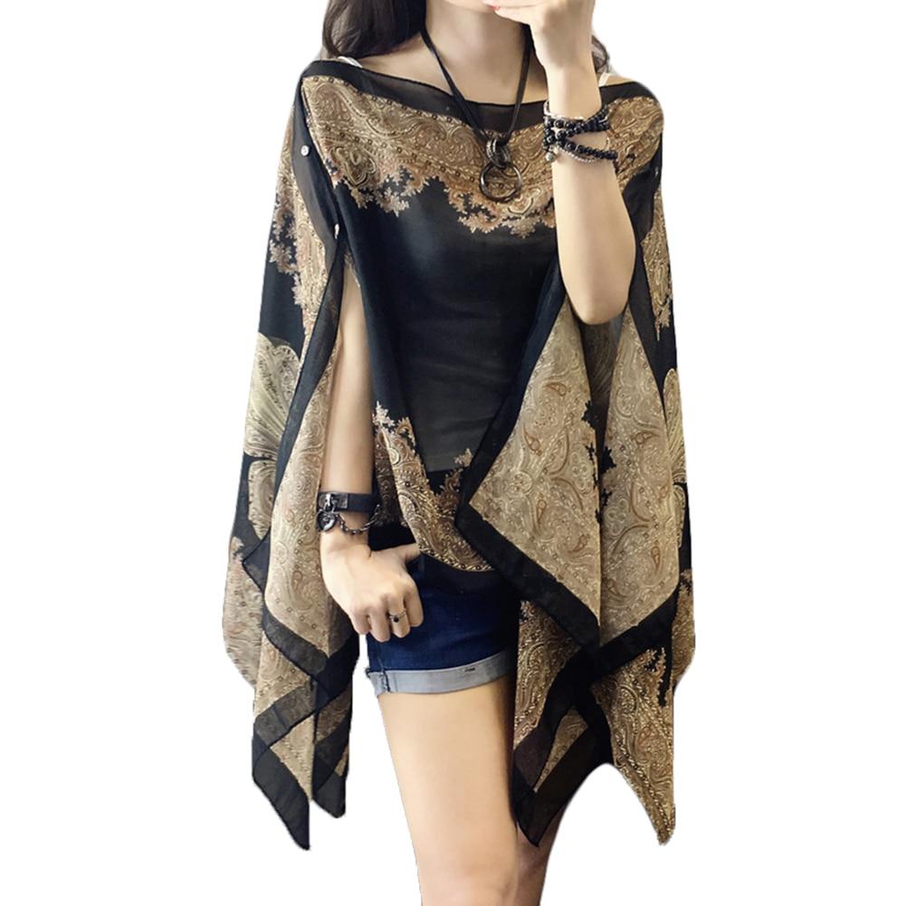 Summer Woman Loose Scarf Shirts Long Sleeve Blouses Shawl Thin Fabala Chiffon Cover Ups 10-color Plus Size Sun Protection Shawl
