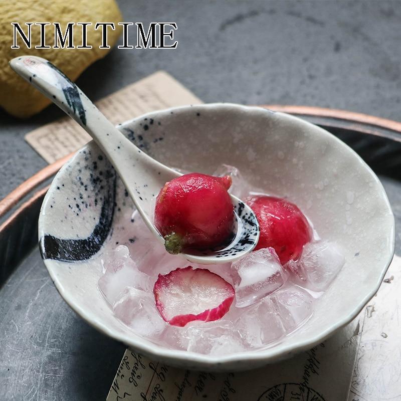 NIMITIME Japanese Style Ceramic White  Porridge Soup Spoon Dessert Spoon  Safety Glaze Color Tableware