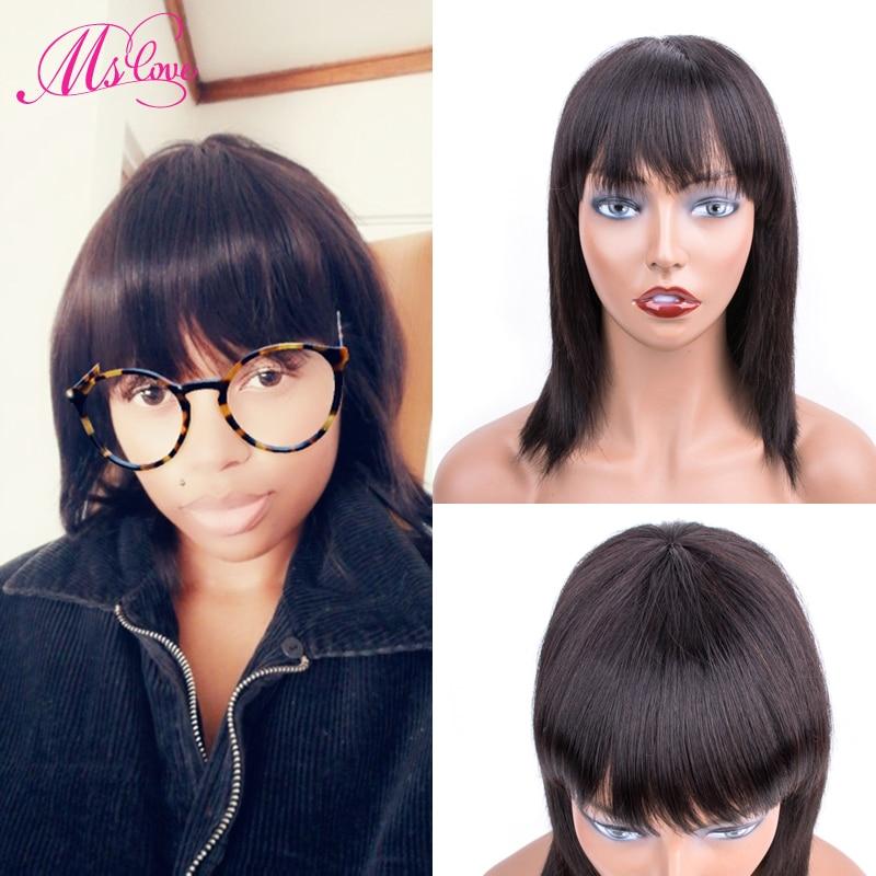perucas de cabelo humano liso com franja para mulheres cabelo curto brasileiro remy