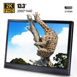 13,3 дюйма 2k IPS портативный монитор ноутбук и игровые мониторы HDMI светодиодный дисплей для компьютера ПК PS4 Xbox камера 2560x1440 13,3