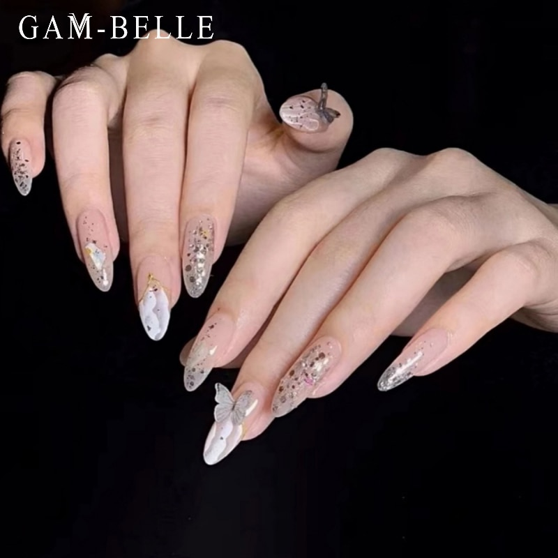 GAM-BELLE 3D Butterfly Fake Nails Shining Glitter Sequin Long Oval Full Detachable Beauty Artificial
