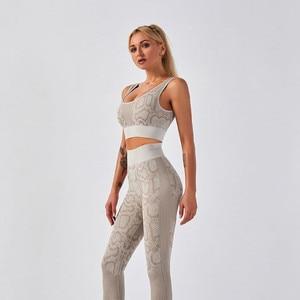 Yoga clothes female snake pattern breathable quick-drying tight-fitting bra high waist hip trousers fitness running sports suit