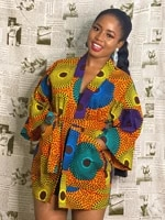 autumn colorful print african cardigans with belt casual elegant dresses for women fashion pocket kimono cardigan floral print