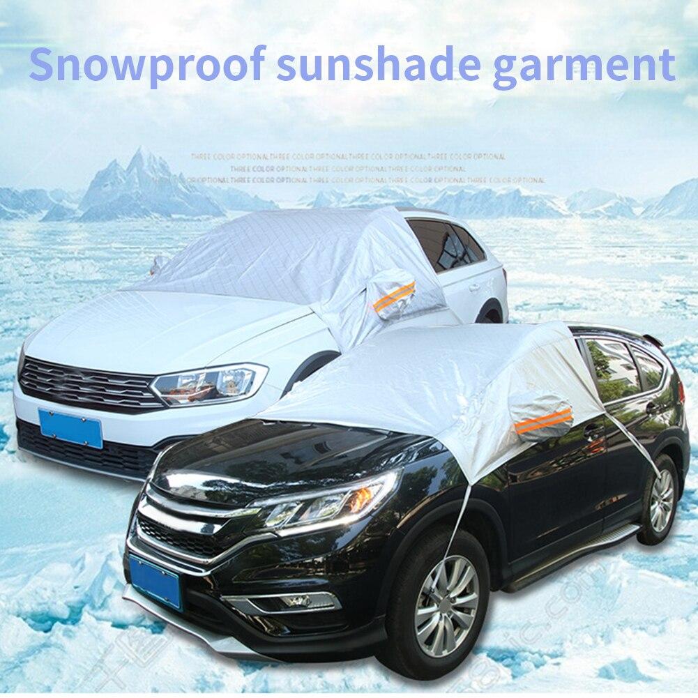 Sombrillas impermeables película aluminizada Protector de nieve cubierta de parabrisas estilo Protector de espejo accesorios de coche plegable resistente a los rayos UV
