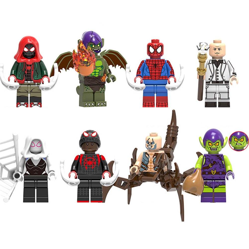 Juego de 8 piezas de superhéroe DC Ultimate Spider-Man DUENDE VERDE Spider-Gwen Compatible con LEGO bloques de construcción figuras de juguetes para niños