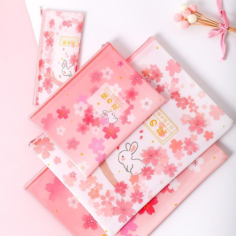 Sakura Rabbit Zipper Mesh File Bag Document Bag File Folder Stationery Filing Production