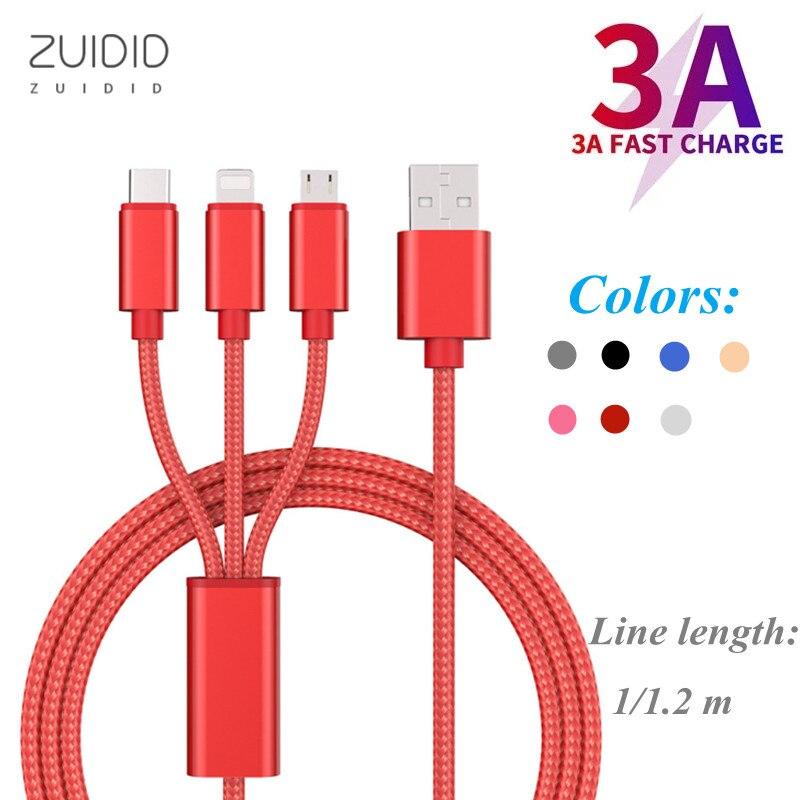 Cable de datos multicolor 3 en 1 de 1/1, 2 M, Cable...