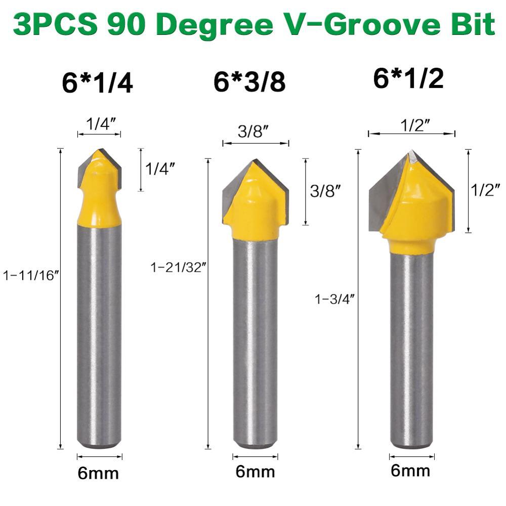 3 uds., 6mm, vástago 90 grados V, broca de ranura CNC para grabado, fresa de carburo, fresa de madera