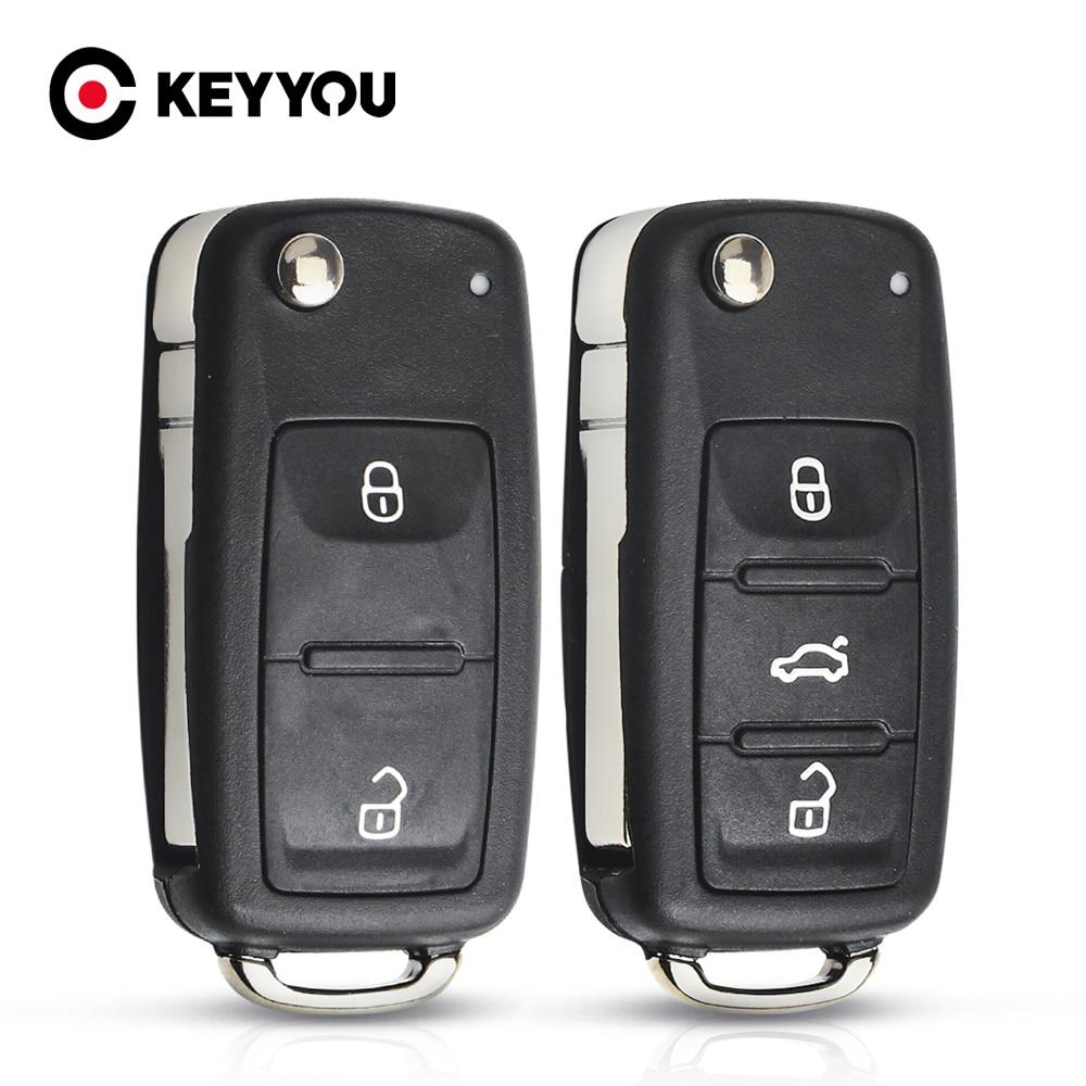 Carcasa de mando a distancia KEYYOU 10X para VW Volkswagen Skoda Octavia Golf Mk6 Tiguan Polo Passat CC asiento de repuesto 2/3 botones