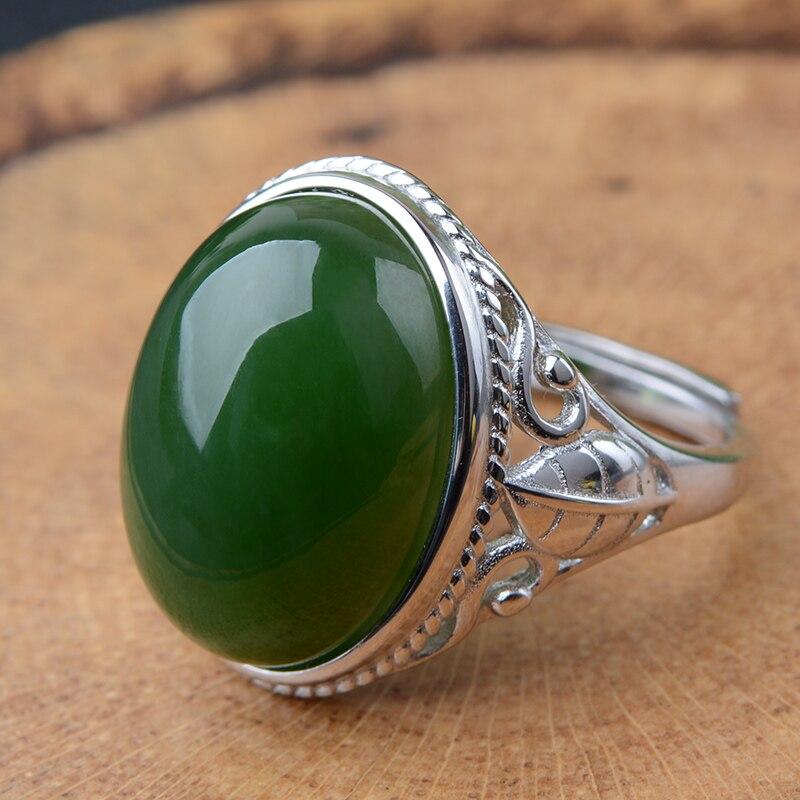Anéis de jade verde natural anel jasper redimensionável com 925 anel de prata esterlina para as mulheres anéis jadeite jade jóias 925 anel
