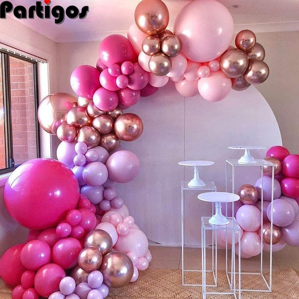 Hot Pink Chrome Rose Gold  Balloon Arch Garland Wedding Birthyday Baby Shower Party Background Decor Globos Kids Toys