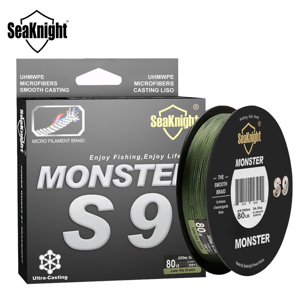 Seaknight monstro s9 300 m trançado linhas de pesca s espiral braide tech. 9 fios multifilamento pe verde 30lb 40lb 50lb 80lb 100lb