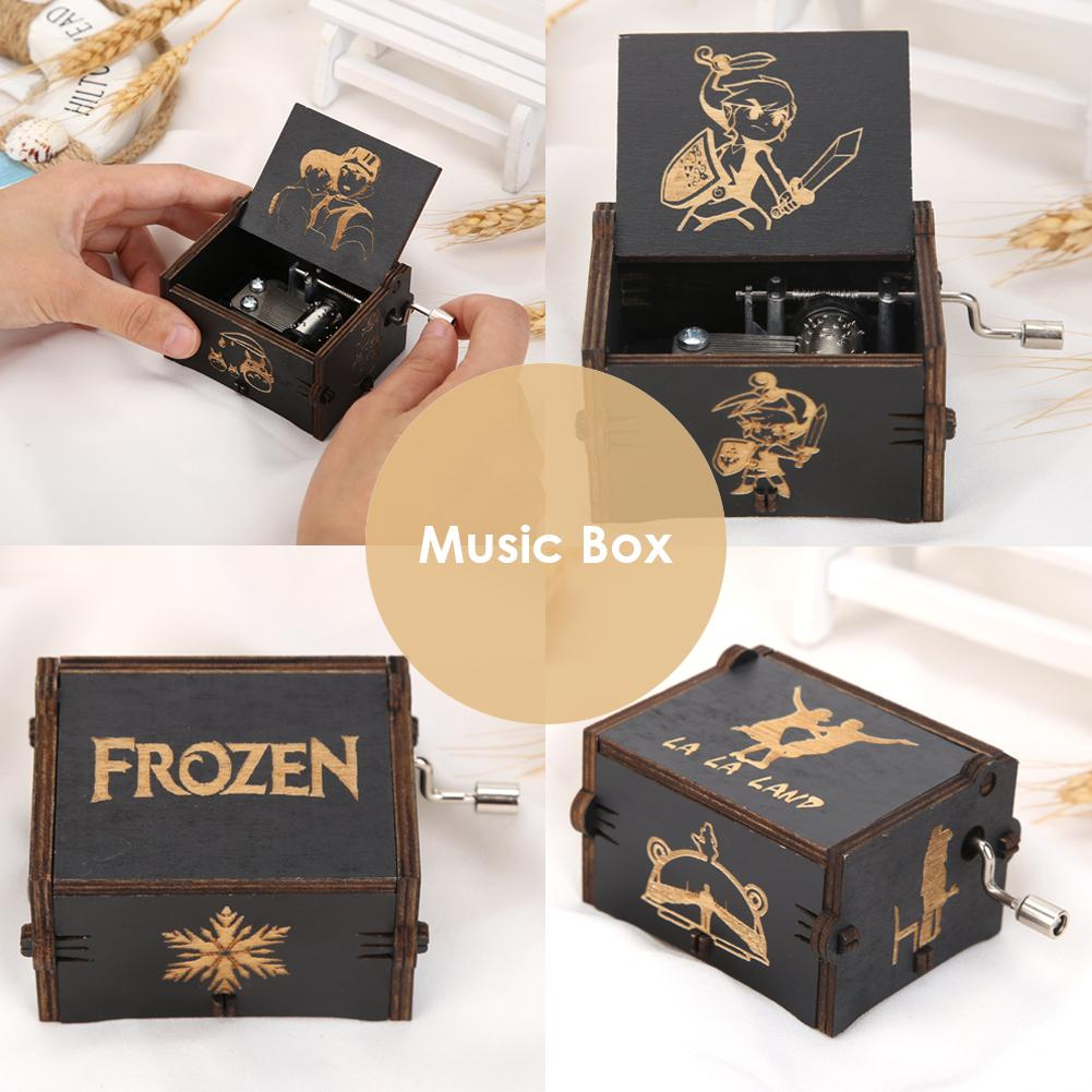 Vintage Music Box Engraved Wooden Music Box Hand Crank Clockwork Interesting Toys Kids Christmas Gif