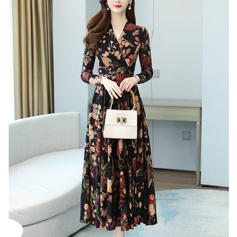 Plus Size Spring Autumn Floral Elegant Dresses 2021 Vintage Knit Cotton Warm Midi Dress Women Bodycon Party Casual Maxi Vestidos