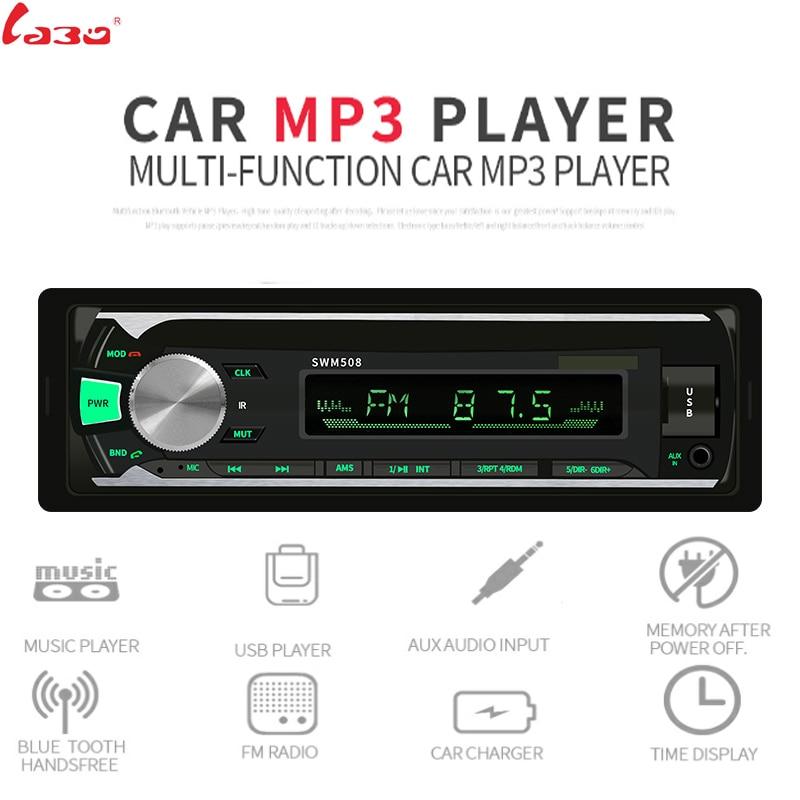 Reproductor estéreo de Radio de coche Bluetooth AUX-IN de teléfono MP3 FM/USB/1 Din/control Remoto 12V Audio de coche Auto 2019 venta nueva
