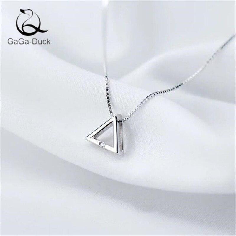 Nueva joyería de moda de estilo coreano para mujer, collares de colgantes triangulares N490 de plata fina 925 geométrica