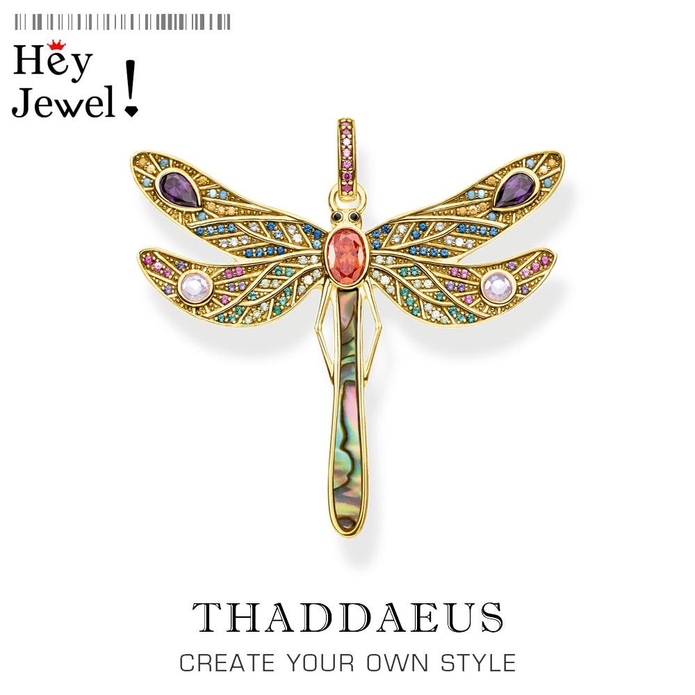 Colgante libélula dorada, joyería de marca primavera 2020 Bohemia juguetona Plata de Ley 925 ser colorido feliz regalo gratis para Ts mujeres