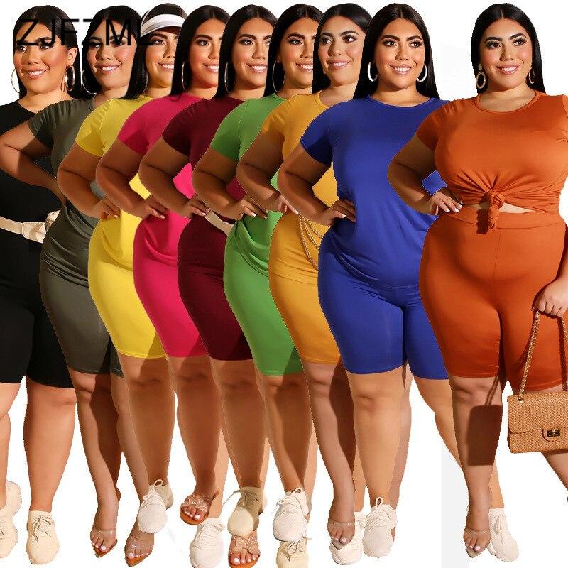 XL-5XL plus size duas peças sweatsuit roupas femininas o pescoço manga curta t camisa e magro curta jogger casual 2 peça roupa