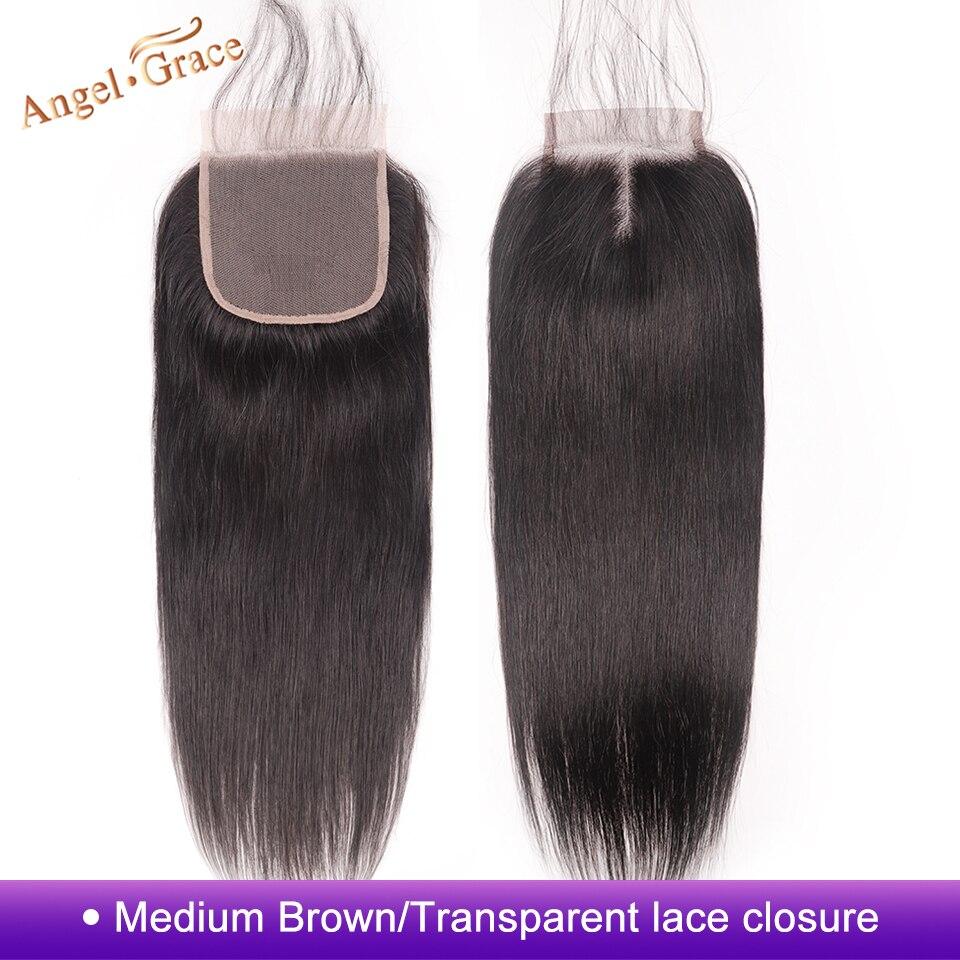 Cierre de pelo lacio brasileño ANGEL GRACE, parte media 4x4, cierre de encaje medio marrón/transparente, cierre de pelo humano Remy