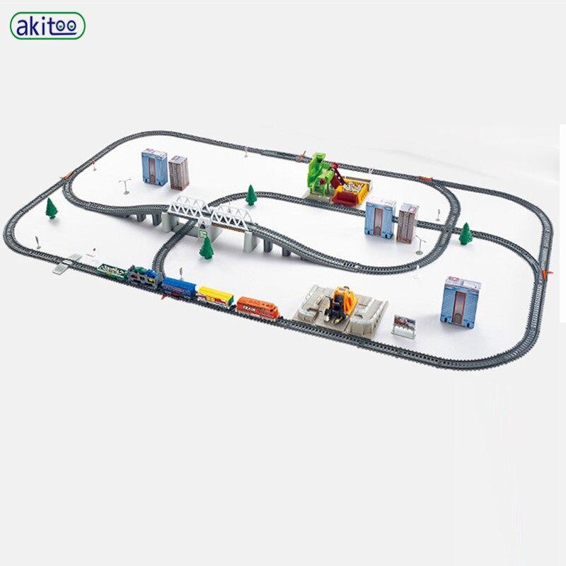 Akitoo 2181 + simulação de alta velocidade ferroviário a motor veículo ferroviário carro elétrico trem harmonia trem crianças brinquedo molde #1009