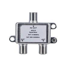 Satélite coaxial combinador cabo distribuidor interruptor 2 em 1 dupla utilização 2 canais duplexer tv sinal mixer satélite