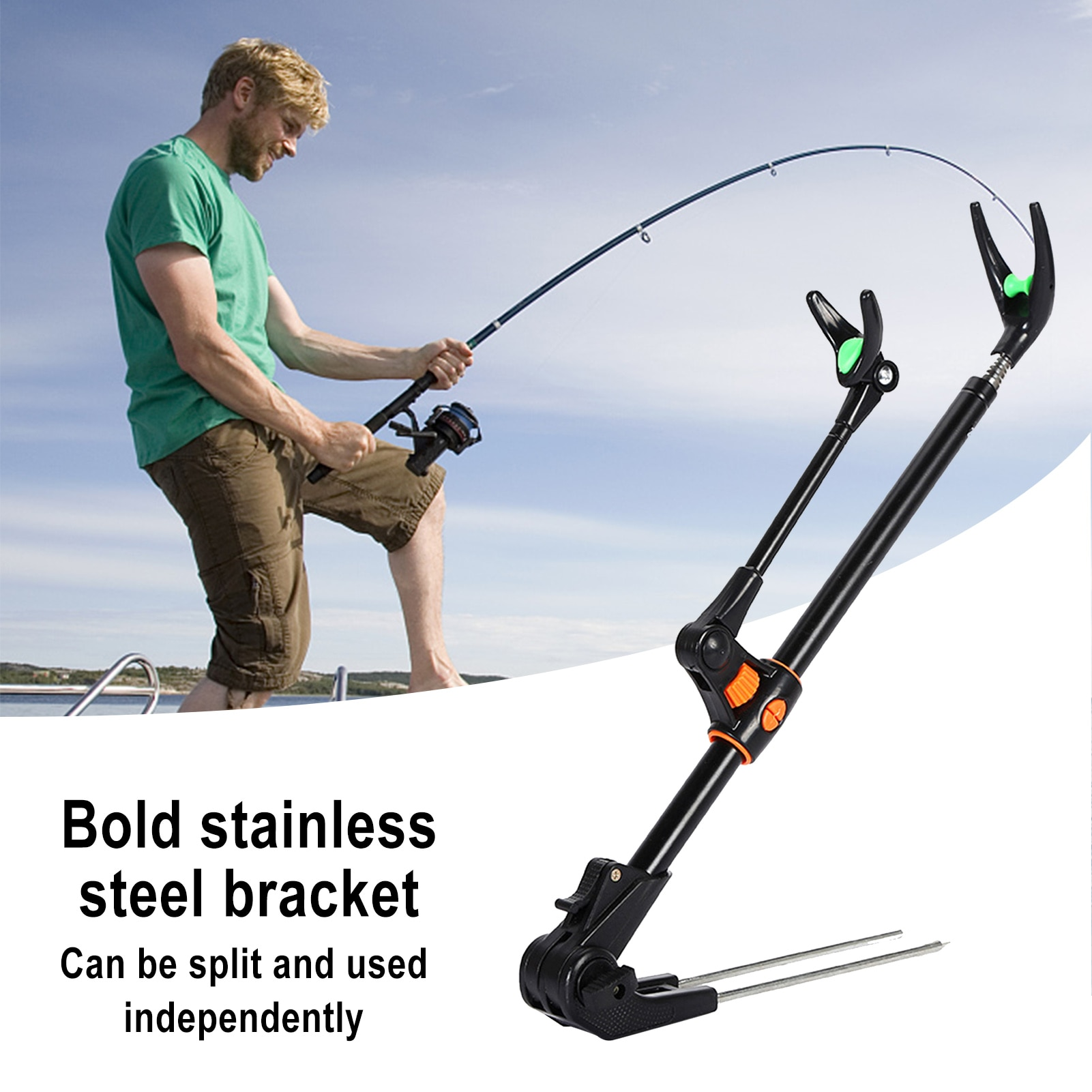 Stainless steel rubber bracket head dual purpose fishing rod bracket 1.7m/ 2.1m/ 2.4m telescopic fishing rod bracket NEW #
