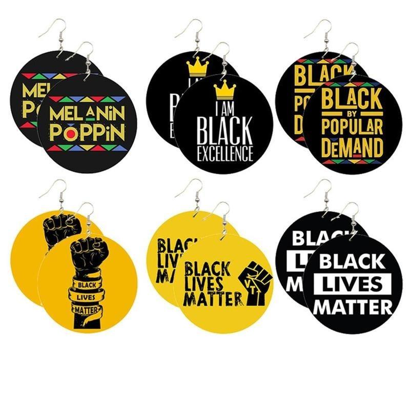 Black Lives Matter Printed African Power Fist Wooden Drop Earrings For Women Afro History Figure Names Women Pendant Earrings