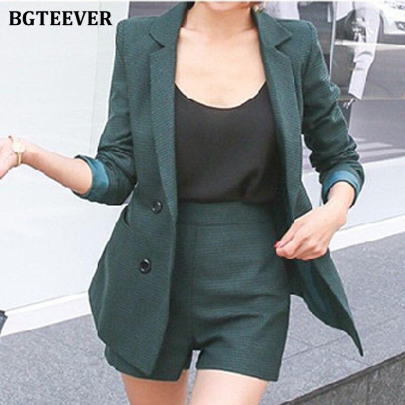 BGTEEVER Retro Female Shorts Suits Long Sleeve Houndstooth Blazer & Slim Shorts Elegant Workwear 2 Pieces Blazer Set 2020 Autumn