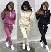 fashion new women hoodies sports tops pants tracksuit sweatshirt sweat suit jogging set