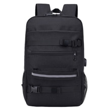 Men Women School USB Charging Travel Laptop Adjustable Strap Sports Students Anti Theft Skateboard Backpack Zipper Longboard