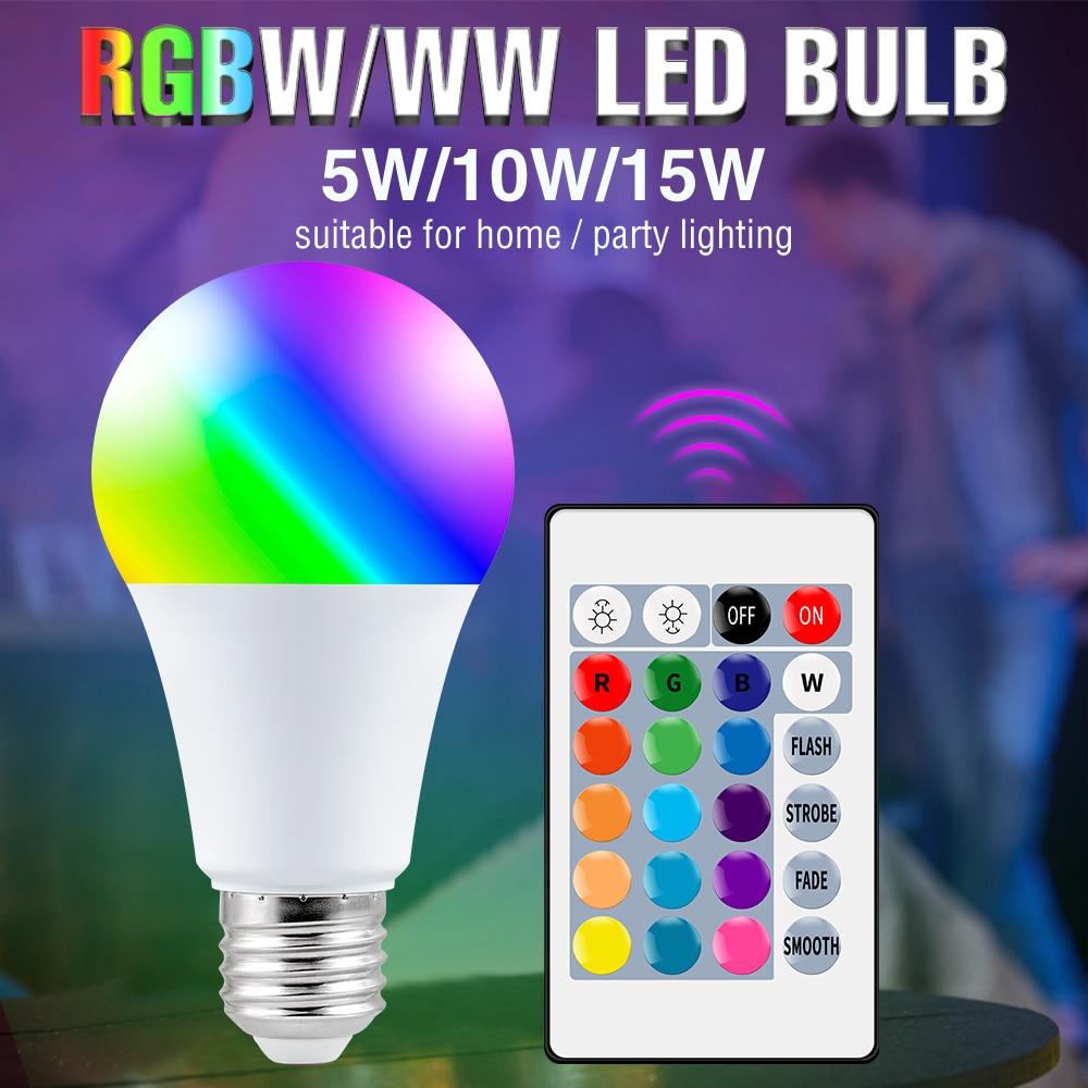 220 В RGB светильник почка 16 цветов приглушаемая лампа для украшения дома E27 Волшебные лампочки 5 Вт 10 Вт 15 Вт красочная Светодиодная лампа с ИК-...