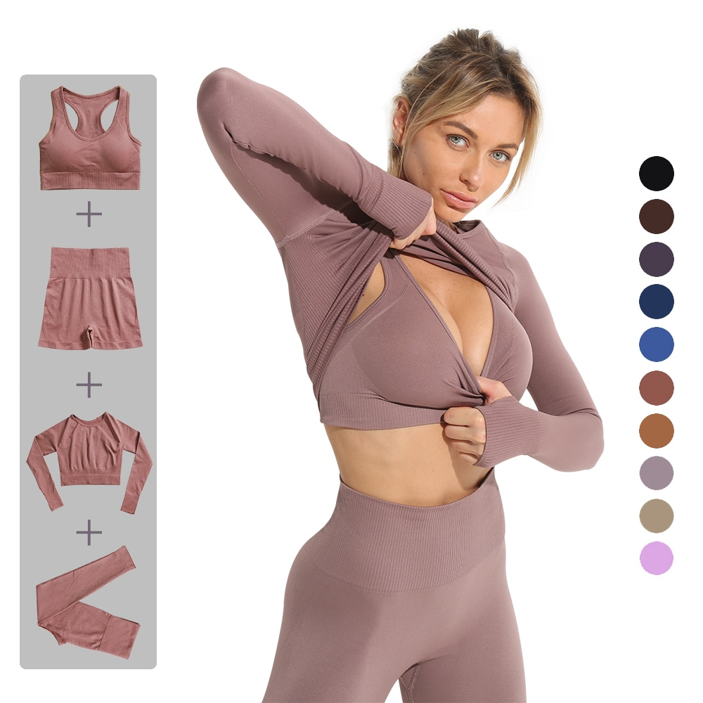 sportswear yoga set Tights top for seamless Sport outfit fitness gym set shorts High waist Women bra tracksuit suit long sleeves