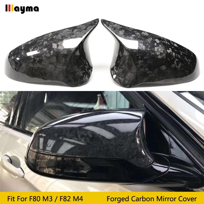 Un forjado de fibra de carbono para BMW F80 M3 F82 M4 2014 - 2019 de fibra de carbono Real cubierta de espejo lateral tipo alerón de reemplazar 2 uds