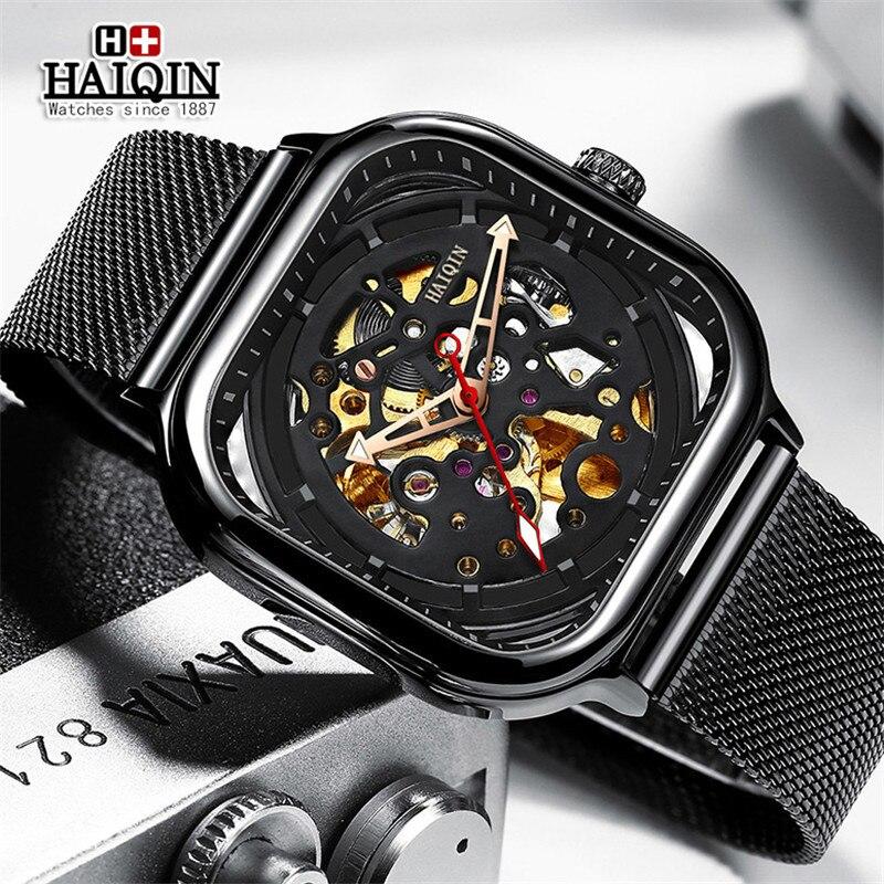 HAIQIN, relojes para hombre de la mejor marca, reloj mecánico de lujo con esqueleto hueco, reloj de pulsera automático deportivo militar para hombres, reloj de pulsera para hombre + caja