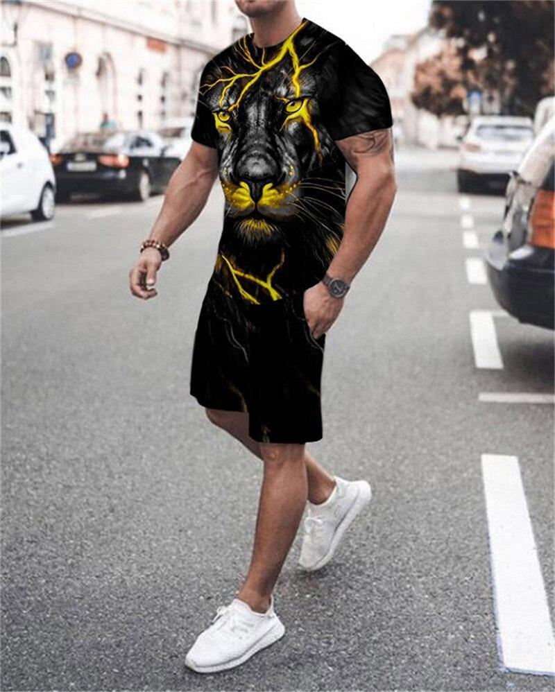 Футболка и шорты мужские с 3D-принтом волка, спортивная одежда с круглым вырезом и короткими рукавами, комплекты летней одежды