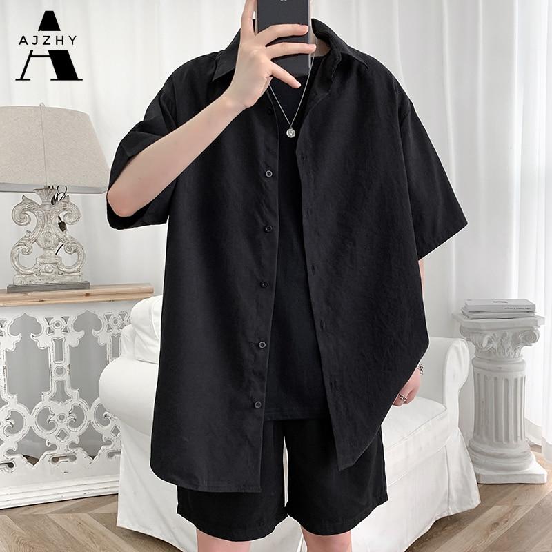 الشارع الشهير قميص الرجال الصلبة قميص أبيض بحجم ضخم قصيرة الأكمام قمصان فضفاضة الصيف موضة عادية الكورية قميص رجالي بلايز الملابس 2021