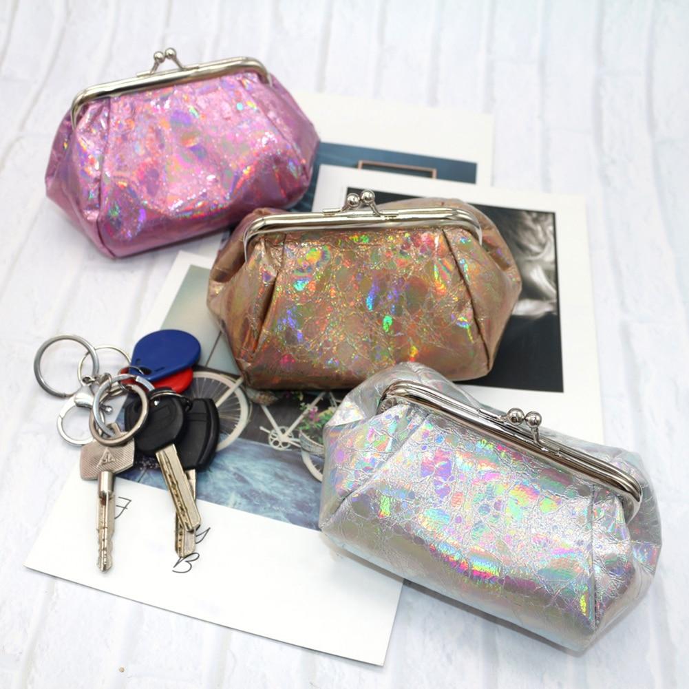 ¡Caliente! Moda láser holográfico mujeres Kiss Lock monedero tarjeta llaves titular cartera Oval monederos dólar dinero bolsa monedero mujeres