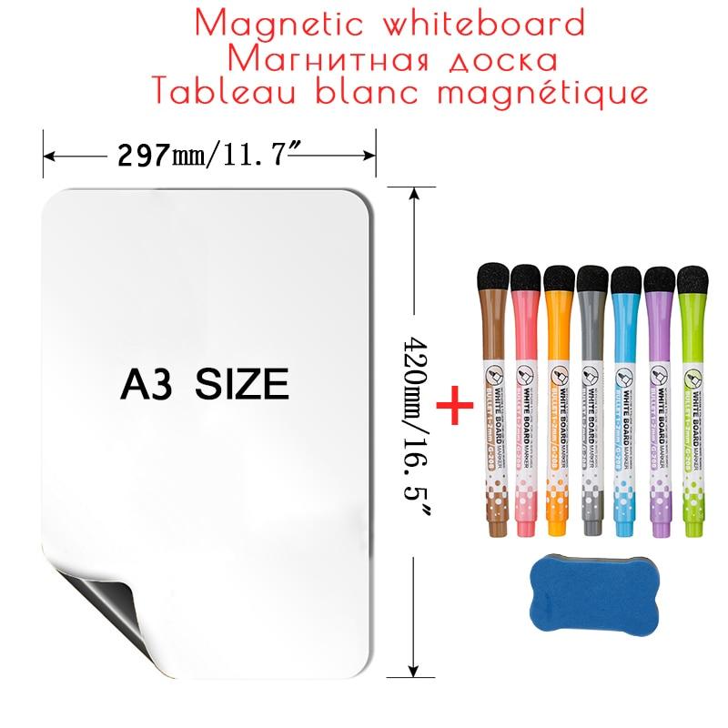 A3 Размеры магнитно-маркерная доска для стен сухое стирание белая доска календарь магнитные наклейки для холодильника сообщение Memo рисунок ...
