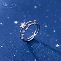 modian real 925 sterling silver double layer twinkle star cz adjustable open wedding engagement rings for women fashion jewelry