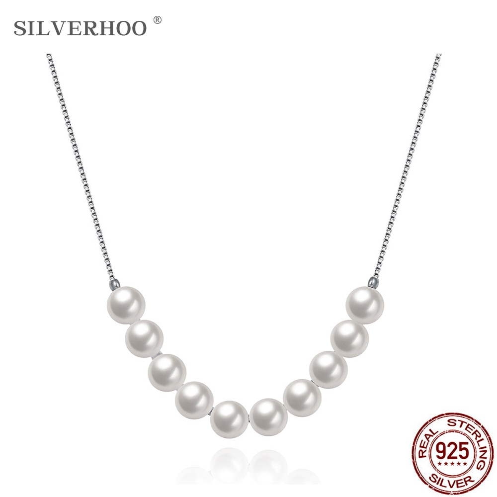 SILVERHOO 925 Sterling Silver Necklace For Women Round Smooth Shell Pearl Pendant Necklaces Chain New Year Gift For Girlfriend
