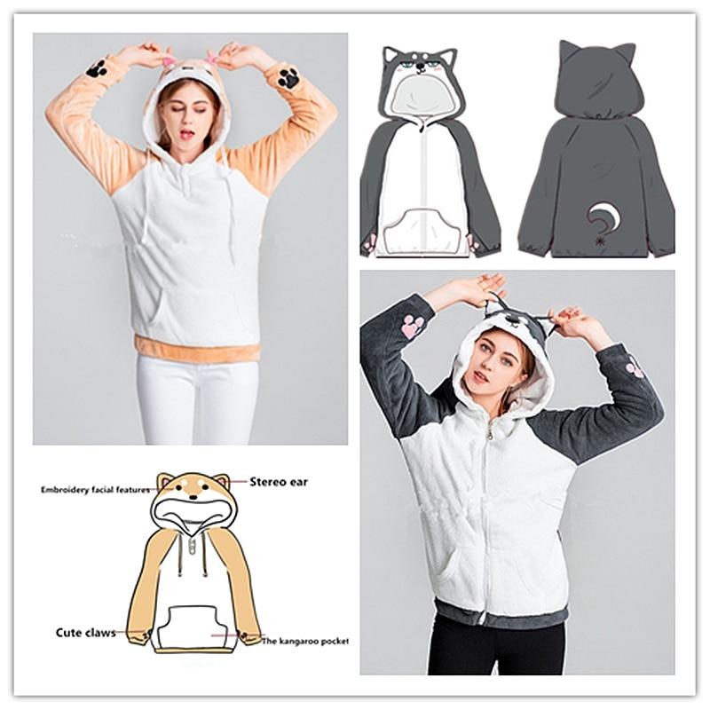 Japón Kawaii Shiba Inu Doge Husky jersey con capucha Neko Atsume gato Miau Abrigo con capucha niñas sudaderas con capucha de la ropa de abrigo hotsale