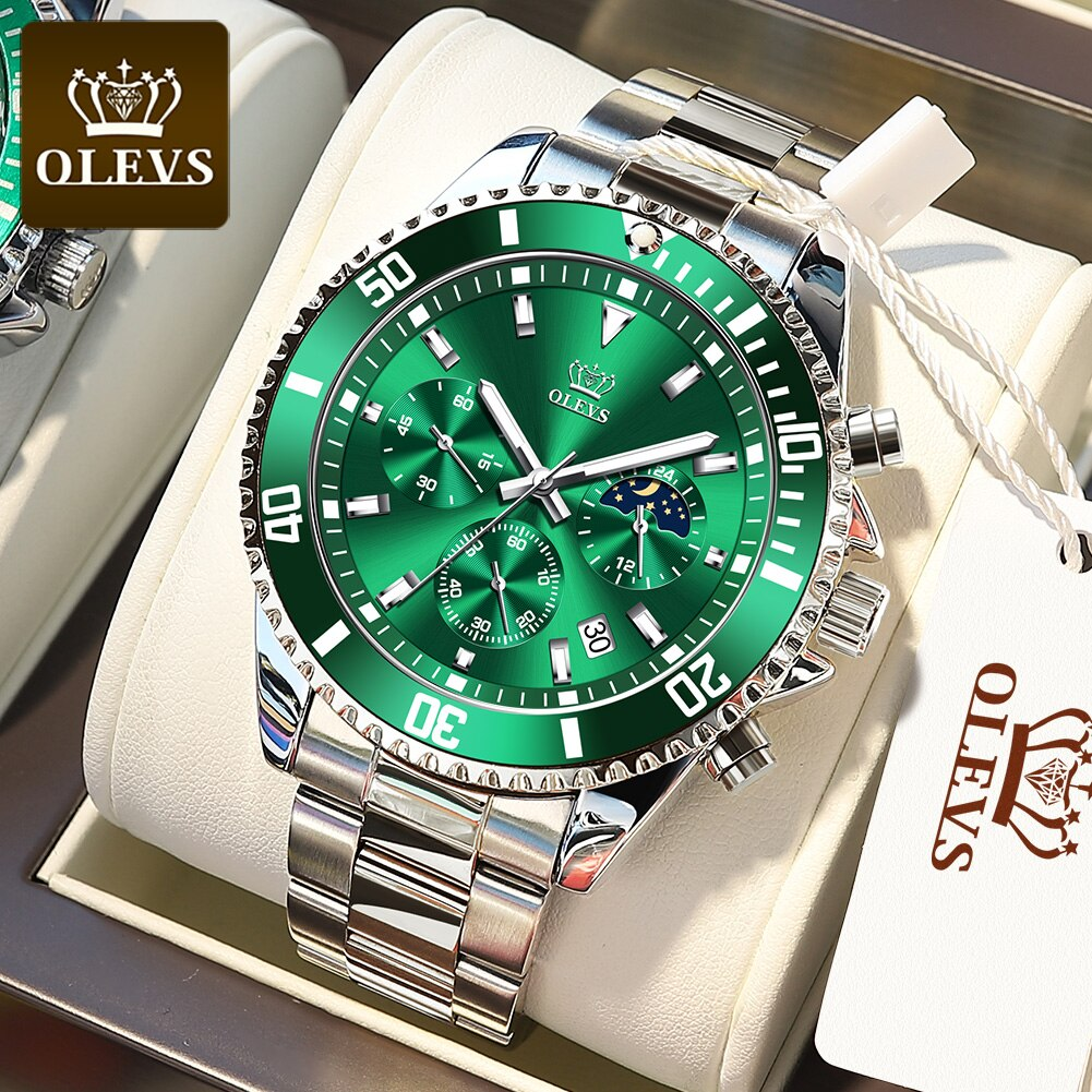 OLEVS ساعة رجالي قمة العلامة التجارية موضة جديدة الفولاذ المقاوم للصدأ ساعة متعددة الوظائف مضيئة توقيت ساعة مقاومة للماء الشحن السريع