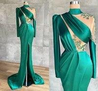 long sleeve high neck mermaid prom dresses wear front slit dubai women green lace satin long evening dresses robes de soir%c3%a9e
