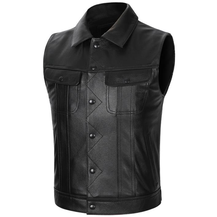 Chaleco de cuero genuino de cuero de vaca Casual de motociclista Chaleco de cuero Real chaqueta sin mangas S-5XL