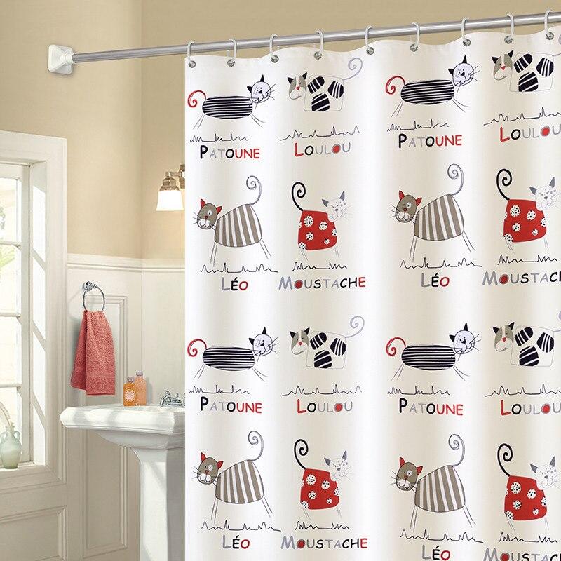 Cartoon Cute Cat Waterproof Mildew Polyester Shower Curtain Toilet Partition Bath Curtain Elefant Bathroom with Hooks Home Decor