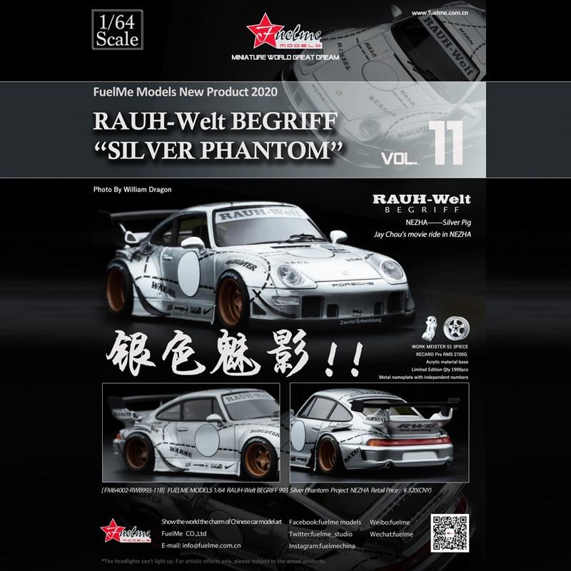 modelo de carro de resina phantiom de prata rwb 993 fuelme 164