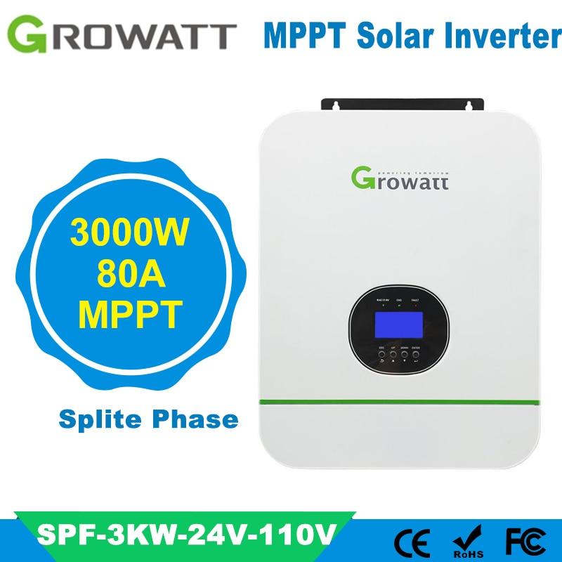 Growatt 3KW خارج الشبكة سبليت المرحلة الشمسية الهجين العاكس نقية شرط موجة الناتج الجهد 110Vac المدمج في MPPT 80A جهاز تحكم يعمل بالطاقة الشمسية