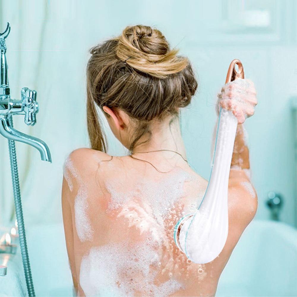 Electric Bath Brush Silicone Back Massage SPA Shower Brush Exfoliate Skin Care Waterproof USB Long Handle Body Cleaning Brush enlarge
