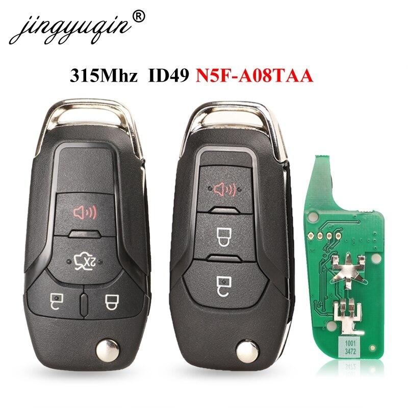 Jingyuqin 3/4 botões flip remoto chave keyless entrada fob 315mhz 49 chip hitag pro para ford fusion 2013-2015 fccid N5F-A08TAA